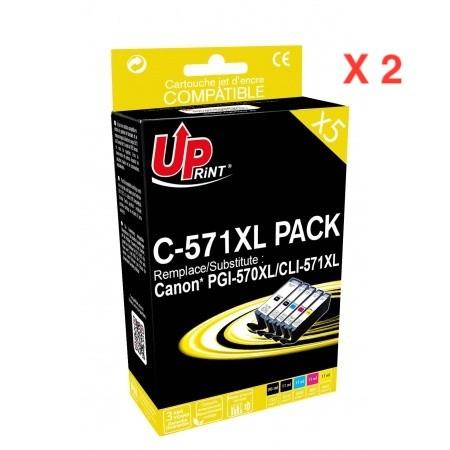 COMPATIBLE CANON - 1 ACHETE =1 OFFERT UPrint PGI-570 XL / CLI-571 XL Pack 5 cartouches Qualité Premium