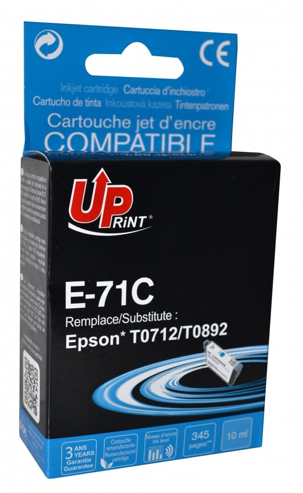UPRINT/ QUALITE PREMIUM - UPrint T0712 Cyan Cartouche remanufacturée Epson Qualité Premium