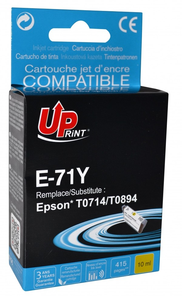 UPRINT/ QUALITE PREMIUM - UPrint T0714 Jaune Cartouche remanufacturée Epson Qualité Premium