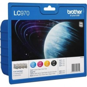 BROTHER ORIGINAL - Brother LC-970 Pack de 4 Cartouches (Noir, Cyan, Magenta, Jaune)