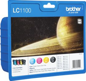 BROTHER ORIGINAL - Brother LC-1100 Pack de 4 Cartouches (Noir, Cyan, Magenta, Jaune)