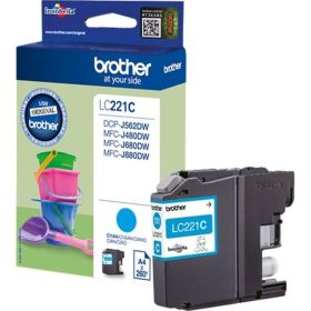 BROTHER ORIGINAL - Brother LC-221 Cyan (260 pages) Cartouche de marque