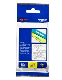 BROTHER ORIGINAL - Brother TZE-135 Ruban laminé blanc sur transparent, 12mm sur 8 mètres pour imprimante P-Touch