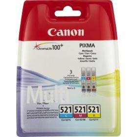 CANON ORIGINAL - Canon CLI-521 Pack Eco de 3 cartouches de marque 2934B010 (Cyan + Magenta + Jaune)