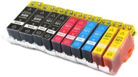COMPATIBLE CANON - PGI-520/CLI-521 Lot économique de 10 Cartouches génériques avec puces
