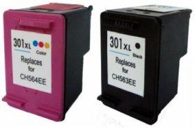 COMPATIBLE HP - 301XL / CH563EE / CH564EE Pack de 2 cartouches remanufacturées Noir et Couleurs