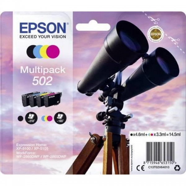 EPSON ORIGINAL - Epson 502 (14,5 ml) Pack de 4 cartouches de marque T02V64010 Noir, Cyan, Magenta, Jaune