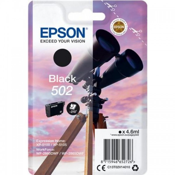 EPSON ORIGINAL - Epson 502 Noir (4,6 ml) Cartouche de marque T02V14010