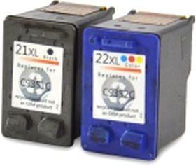 COMPATIBLE HP - 21XL et 22XL Lot de 2 Cartouches remanufacturées noir et couleur (15ml + 16ml)