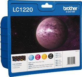 BROTHER ORIGINAL - Brother LC-1220 Pack de 4 Cartouches (Noir, Cyan, Magenta, Jaune)