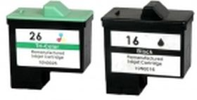 RECYCLE LEXMARK - N°16 et N°26 Lot de 2 Cartouches remanufacturées