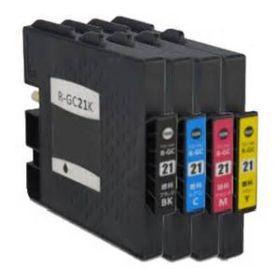 COMPATIBLE RICOH - GC-21 Pack de 4 Cartouches gel remanufacturées (Noir, Cyan, Magenta, Jaune) avec puces