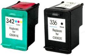 COMPATIBLE HP - 336 Noir + 342 Couleurs Pack de 2 Cartouches remanufacturées