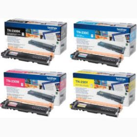 BROTHER ORIGINAL - Brother TN-230 Pack de 4 Toners (Noir, Cyan, Magenta, Jaune)